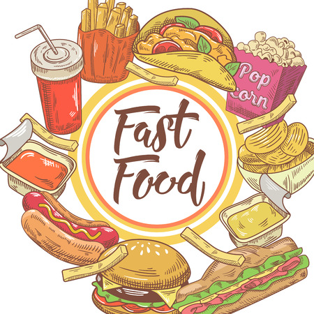 Fast Food Hand Drawn Design with Sandwich, Fries and Burger. Unhealthy Eating. Vector illustration