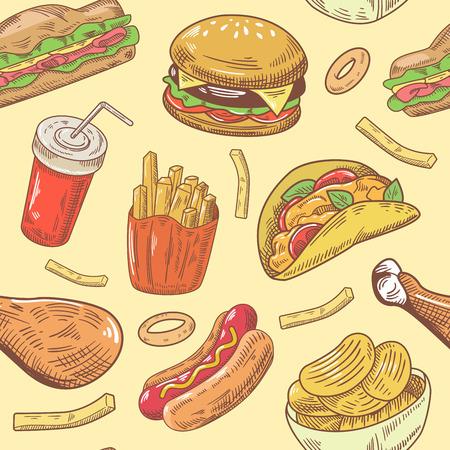 Fast-food main tirée seamless poulet et poulet sautés vecteur de fond Banque d'images - 80475402