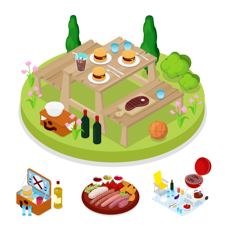 Isometric BBQ Picnic Party. Summer Holiday Camp. Grilled Meat Burgers. Vector flat 3d illustration