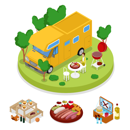 Isometric BBQ Camper Picnic Party. Summer Holiday Camp. Grilled Meat. Vector flat 3d illustration