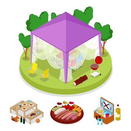 cookout: Isometric BBQ Picnic Party in Tent. Summer Holiday Camp. Grilled Meat. Vector flat 3d illustration