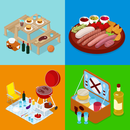 Isometric BBQ Picnic Food. Summer Holiday Camp. Grilled Meat, Wine and Vegetables. Vector flat 3d illustration