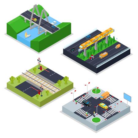 Isometric Urban Roads with Railway, Crossroad, Cars and Bridge. City Traffic. Vector flat 3d illustration