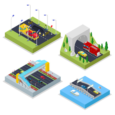 Isometric Urban Infrastructure with Avenue, Tunnel, Cars and Bridge. City Traffic. Vector flat 3d illustration