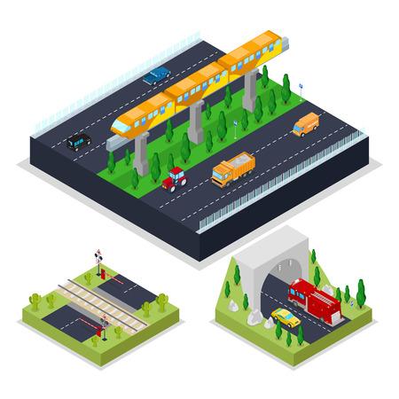 近代的な鉄道と等尺性の都市計画道路。都市交通。ベクトル平らな 3 d イラスト