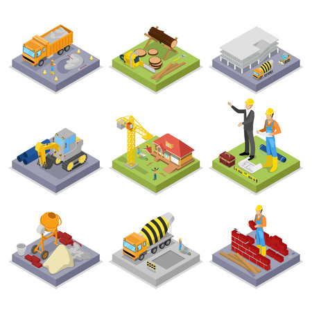 Isometric Construction Industry. Industrial Crane, Workers, Mixer and Buildings. Vector flat 3d illustration