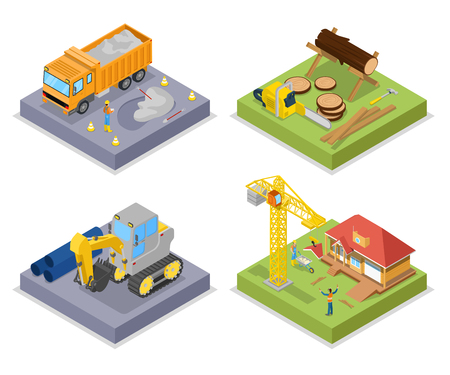 Isometric Construction Industry. Industrial Crane, Private House and Bark of Wood. Vector flat 3d illustration