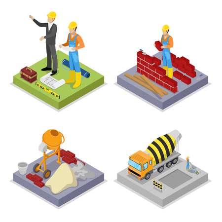 Isometric Construction Industry. Workers, Mixer and Buildings. Vector flat 3d illustration Illustration