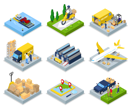 Isometric Delivery Concept. Worldwide Shipping. Warehouse, Air Cargo, Freight Transportation. Vector flat 3d illustration