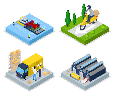 Isometric Delivery Concept. Worldwide Shipping. Warehouse, Freight Transportation. Vector flat 3d illustration