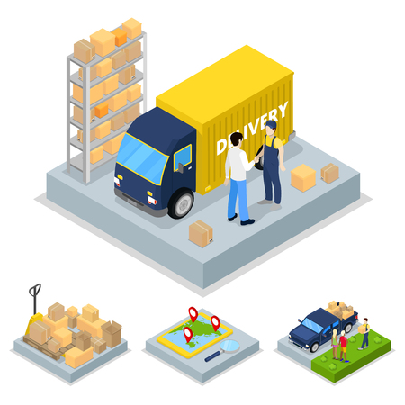 Isometric Delivery Concept with Truck, Courier and Freight Transportation. Vector flat 3d illustration