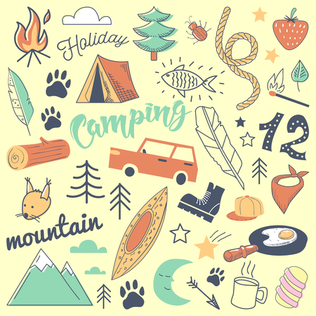 Camping Freehand Hand Drawn Doodle. Mountain Holidays with Tent, Animals and Forest. Vector illustration Illustration