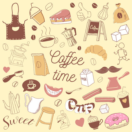 Coffee Time Hand Drawn Doodle. Coffe Beans, Cups and Bakery. Vector illustration Çizim
