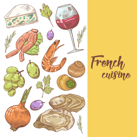 French Cuisine Hand Drawn Design with Cheese, Wine and Grape. Food and Drink. Vector illustration