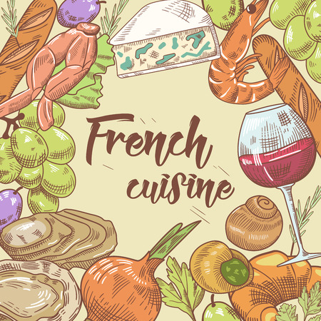 French Cuisine Hand Drawn Design with Cheese, Wine and Croissant. Food and Drink. Vector illustration