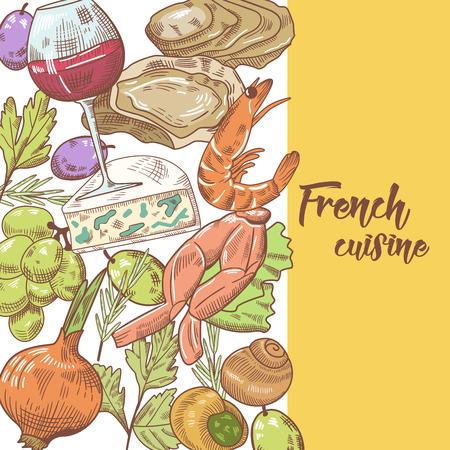 Cocina francesa, diseño dibujado a mano con queso, vino y molusco. Comida y bebida. Ilustración vectorial Foto de archivo - 80927369