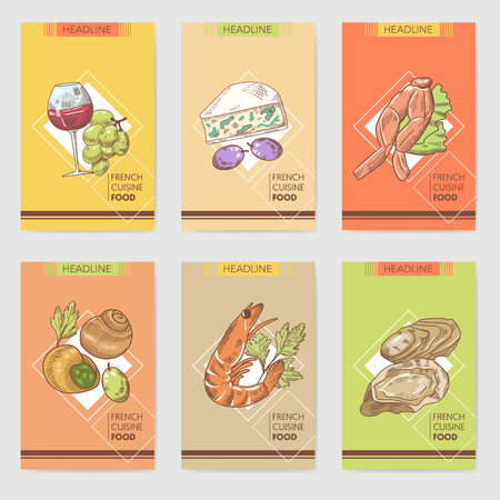 French Cuisine Hand Drawn Cards Brochure Menu with Cheese, Seafood and Glass Wine. Food and Drink Products. Vector illustration