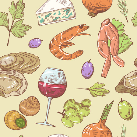 grape snail: French Cuisine Hand Drawn Seamless Pattern with Wine, Seafood and Cheese. Food and Drink. Vector Background