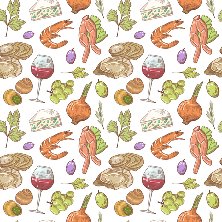 French Cuisine Hand Drawn Seamless Pattern with Wine, Seafood and Cheese. Food and Drink. Vector Background
