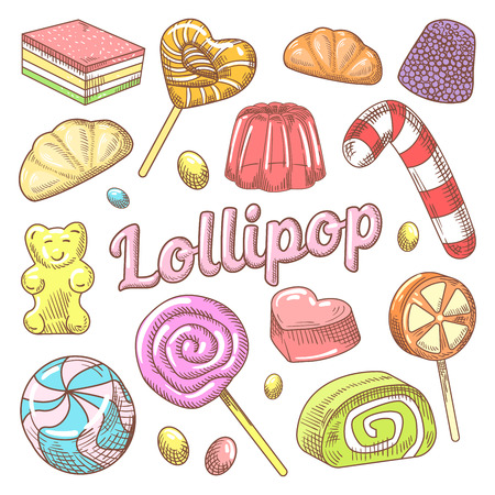 Candy and Lollipops Hand Drawn Doodle with Jelly and Sweets. Vector illustration