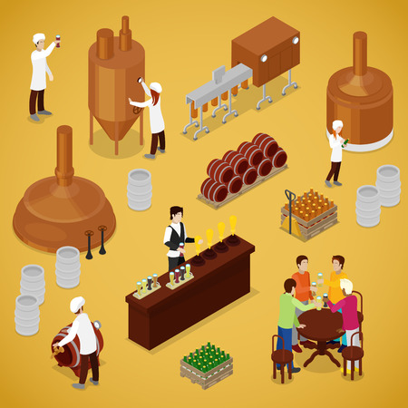 Isometric Brewery Beer Production with Workers, Drinking Elements and Pub. Vector flat 3d illustration