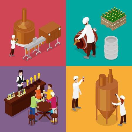 Isometric Beer Production. Brewery Indoors with Workers, Drinking Elements and Pub. Vector flat 3d illustration