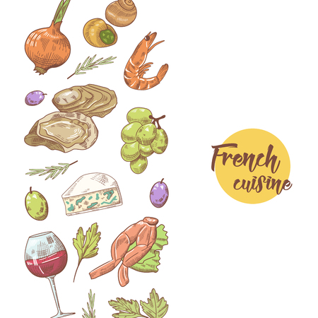 grape snail: French Cuisine Hand Drawn Design with Cheese, Wine and Seafood. Food and Drink. Vector illustration