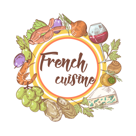 French Cuisine Hand Drawn Background with Cheese, Wine and Seafood. Food and Drink Menu. Vector illustration