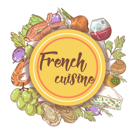 French Cuisine Hand Drawn Menu Design with Cheese, Wine and Seafood. Food and Drink. Vector illustration