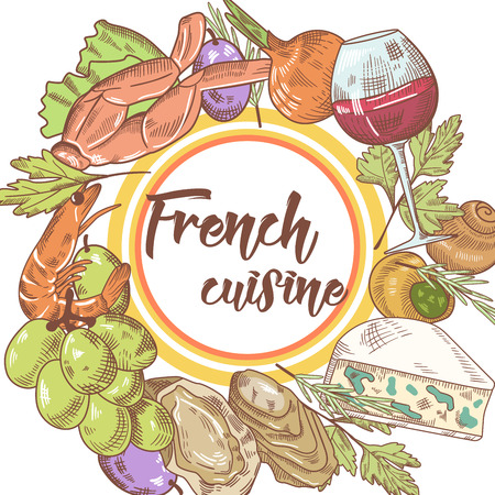 French Cuisine Hand Drawn Background with Cheese, Wine and Grape. Food and Drink Menu. Vector illustration
