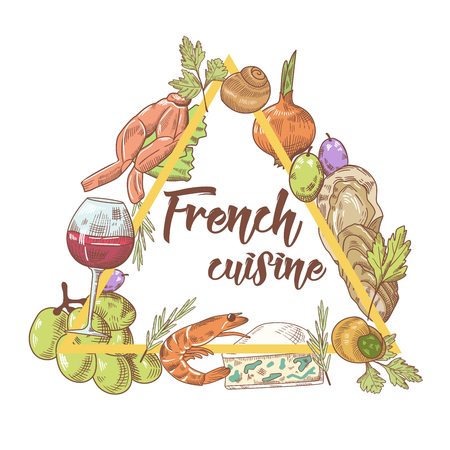 French Cuisine Hand Drawn Background with Cheese, Wine and Seafood. Food and Drink. Vector illustration