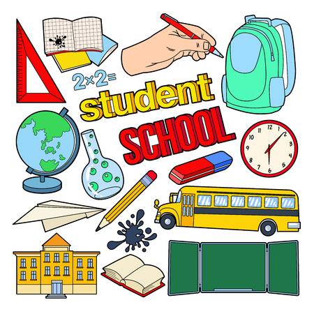 戻る学校落書きペン、本、バックパック。教育コンセプトです。ベクトル図