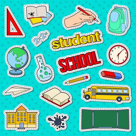 Terug naar schoolstickers, insignes en patches met pen, boek en rugzak. Onderwijs Concept. Vector illustratie Stock Illustratie