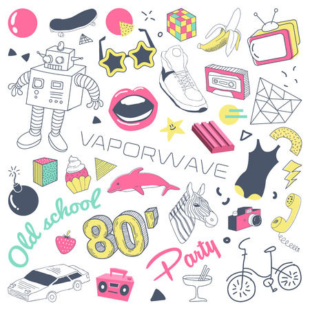80s Fashion Hand Drawn Doodle with Skateboard, Lips and Sunglasses. Teenager Style Freehand Elements Set. Vector illustration