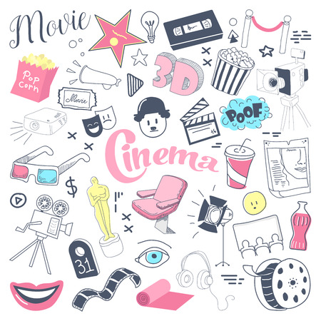 Cinema TV Hand Drawn Doodle with Glasses, Film Reel and Pop Corn. Filmmaking Freehand Elements Set. Vector illustration Illustration