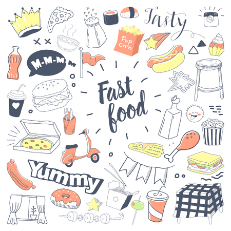 Fast Food Hand Drawn Doodle with Burger, Snacks and Drinks. Unhealthy Food Freehand Elements Set. Vector illustration