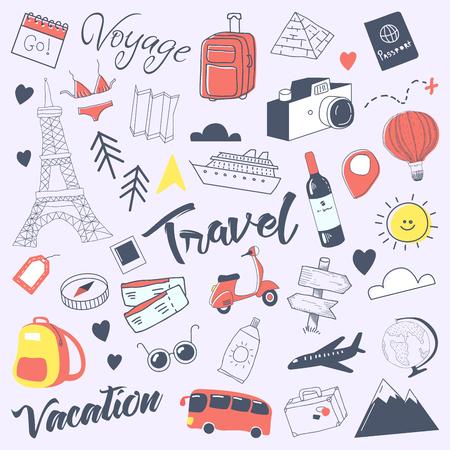 Reizen Hand getrokken Doodle met bagage, Globe en architectuur. Zomer vakantie uit de vrije hand elementen instellen. Vector illustratie Stock Illustratie