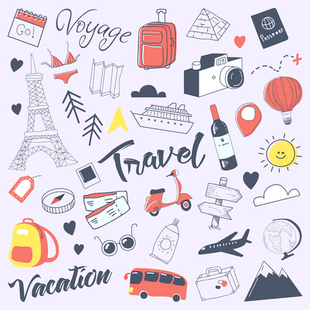 Travel Hand Drawn Doodle with Luggage, Globe and Architecture. Summer Vacation Freehand Elements Set. Vector illustration Imagens - 81344481