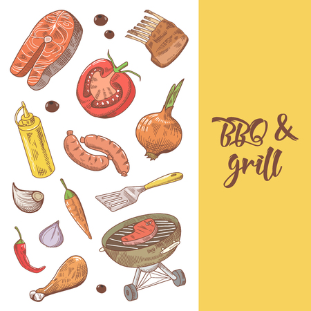 Barbecue and Grill Hand Drawn Background with Meat, Sausage and Vegetables. Picnic Party. Vector illustration Illustration