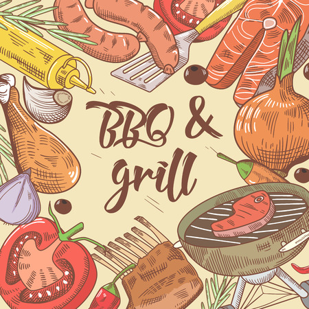BBQ and Grill Hand Drawn Background with Steak, Fish and Vegetables. Picnic Party. Vector illustration Illustration