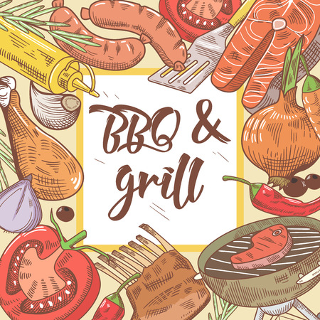 Barbecue e Grill Hand Drawn Design con bistecca, pesce e verdure. Picnic Party. Illustrazione vettoriale Archivio Fotografico - 81320567