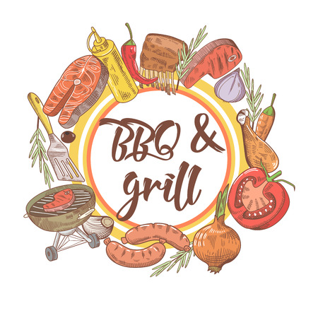 BBQ and Grill Hand Drawn Design with Steak, Fish and Sauce. Picnic Party. Vector illustration Illustration