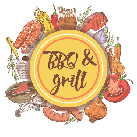BBQ and Grill Hand Drawn Background with Steak, Fish and Sauce. Picnic Party. Vector illustration