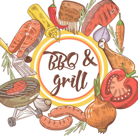 BBQ and Grill Hand Drawn Design with Steak, Fish and Meat. Picnic Party. Vector illustration