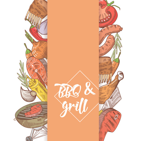 烧烤和烤肉手绘设计用牛排,鱼和肉。野餐派对。矢量图