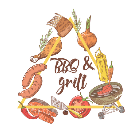 BBQ and Grill Hand Drawn Design with Steak, Meat, Fish and Vegetables. Picnic Party. Vector illustration