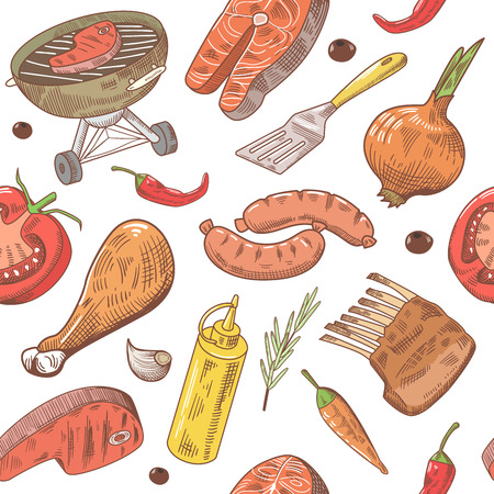 BBQ and Grill Hand Drawn Seamless Background with Steak, Meat, Fish and Vegetables. Picnic Party Pattern. Vector illustration