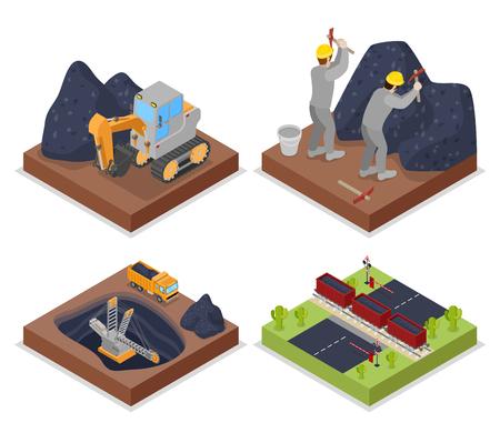 Isometrische kolenindustrie met mensen die werken in mijnen en graafmachines. Vector platte 3d illustratie Stock Illustratie