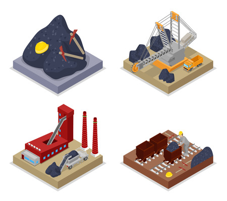Isometric Coal Industry. Workers in Mine, Truck and Excavator. Vector flat 3d illustration Illustration