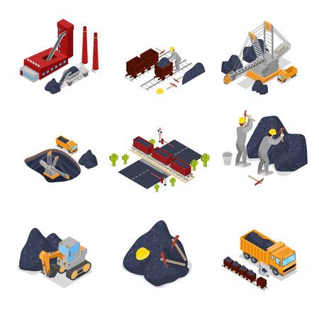 Izometryczny przemysł węglowy z pracownikami w kopalni z koparką, górnikiem i wyposażeniem. Płaskie 3d ilustracji wektorowych